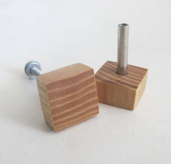 2 Oak Wood Knobs Square Handle Furniture Modern Drawer Knobs Wooden Drawer Pull Rustic Home