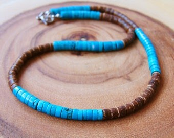 Men's coco shell necklace,Men's Turquoise necklace,Men's beaded necklace,Surfer necklace,Men's surfer necklace,Bohemian men's necklace