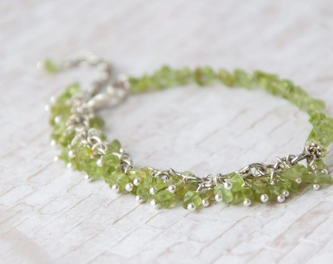 Raw peridot bracelet, Peridot jewelry, Green bracelet, Mothers day gift bracelet, August birthstone bracelet, Green stone bracelet