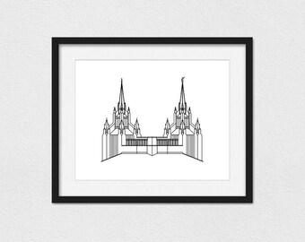 San Diego Temple Print // 5x7, 8x10, or 11x14 // Portrait or Landscape // Custom // Foil Printing Available