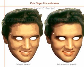 Unique Elvis Singer Printable Mask, costumes, musician pop Star mask, actor decoration, birthday, photo booth props, celebrity, Presley mask