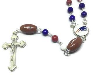New England Patriots Rosary, Sports Rosary, Football Rosary, Cross Pendant, Silver Rosary, Silver Cross Necklace, Silver Rosary Necklace