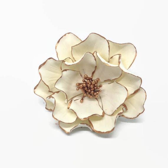 White and Rose Gold Open Rose Sugar Flower with Rose Gold Edging for wedding cake toppers, birthday decor, bridal showers, gumpaste flowers