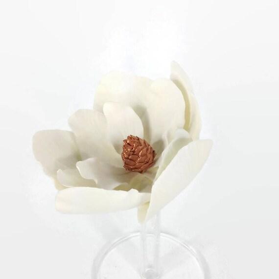 Large Magnolia Sugar Flower with Rose Gold Center for gumpaste flower wedding cake topper, diy brides, fondant cake decoration