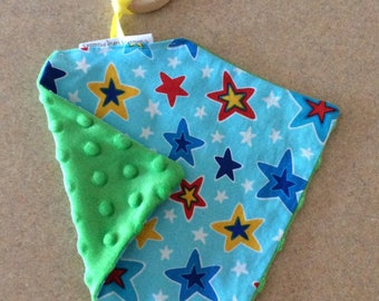 Teething toy wooden minky flannel
