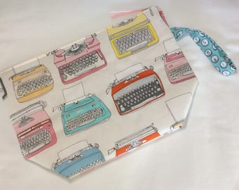 Zippered project bag - knitting typewriters