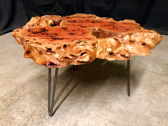 SALE! Red River Gum Burl Live Edge Coffee Table Ready to Ship!