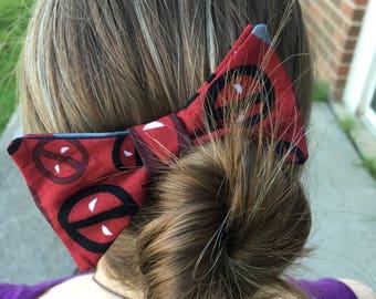 Deadpool themed Hair Bow, Hair Clip, Marvel, Avengers, Superhero, Comic Book, Geek, Bow Tie, Spiderman, Merc With A Mouth, Dapper On Arrival