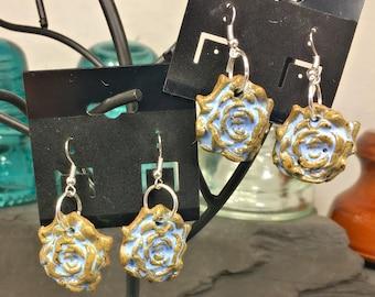 Blue Rose Bloom Earrings