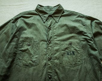 1940s WW2 USN N-3 Poplin Olive Work Shirt Deck Jacket Rockabilly Real Mccoy Buzz Rickson Nigel Cabourn RRL selvedge denim lvc chambray