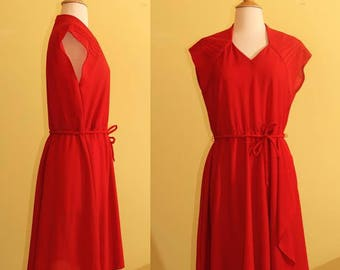 70s JCPenney Fashions Red Tie Waist Dress, M/L