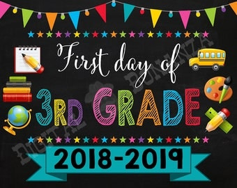 First Day of Third Grade Sign, Instant Download, First Day of School Color Chalkboard, Back To School, Chalkboard Sign, DIY, 3rd, Printable