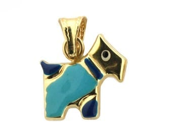 18K Yellow Gold Enamel Dog Charm (10mm x 16mm / 16mm with Bail)