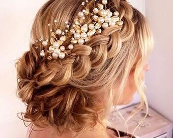 Bridal Hair Pins, Wedding Hair Pins, Pearl Hair Pins, Wedding Hair Accessories, Bridal Hairpin, Gold Hair Pins, Hair Pin Wedding, Set of 3