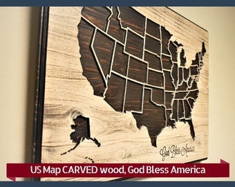 Wooden Usa Map Etsy - Us map with state lines