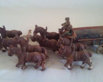 Cast Metal Horse and wagon