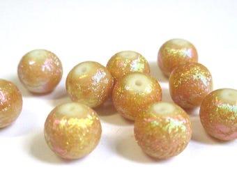 10 pearls camel shiny glass 10mm (O-16)