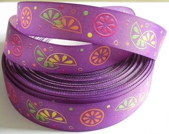 3 metres Purple Ribbon printed fruit 25 mm