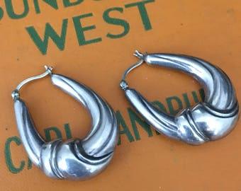 Vintage Modernist Sterling Hoop Earrings Medium Size Thick Chunky 925 Silver Hoops Pierced Earrings 80s Oblong Puffy Hoop