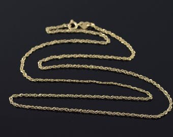 """14k 1mm Loose Link Chain Necklace Gold 18.25"""""""