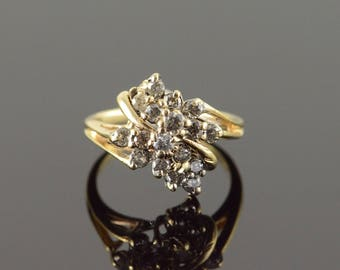 10k 0.65 CTW Diamond Cluster Ring Gold