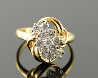 14k 0.77 CTW Diamond Cluster Ring Gold