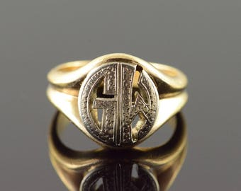 14k G M GM Initial Monogram Letter Cut Out Vintage Ring Gold
