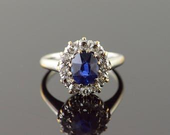 Platinum/14k 0.80 CTW Created Sapphire Diamond Halo Engagement Ring Gold