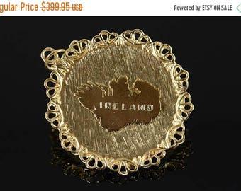 Big SALE 14k Ireland Country Travel Irish Vintage Charm/Pendant Gold