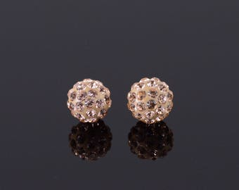 14k Pink Cubic Zirconia Encrusted Ball Stud Earrings Gold