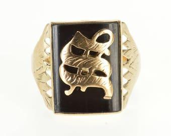 10k Rounded Bezel Inset Onyx W Inital Letter Overlay Ring Gold