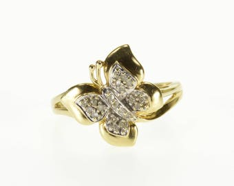 10k Diamond Inset Pave Encrusted Buttefly Ring Gold