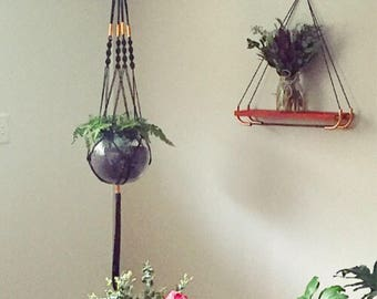 Macrame Plant Hanger with Copper Detail