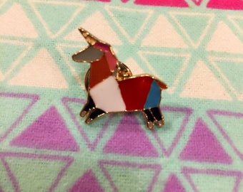 Origami Unicorn Lapel Pin