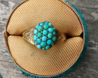 Victorian Turquoise Cluster Ring