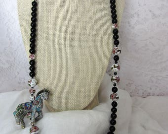 Asian Cloisonne Horse Bead and Round Bead Necklace with Hidden Clasp