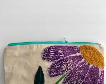 Medium Oblong Cosmetic Bag Purple