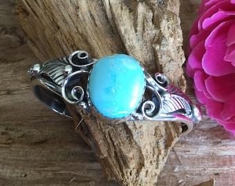Royston Natural Turquoise Bracelet /Sterling Cuff/ Southwestern Jewelry/Handmade/boho jewelry/ artisan jewelry