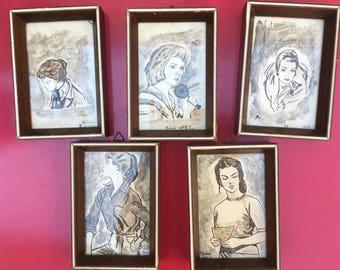 Vintage 60 's five framed original drawings