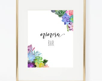Printable Succulent Wedding Mimosa Bar Poster
