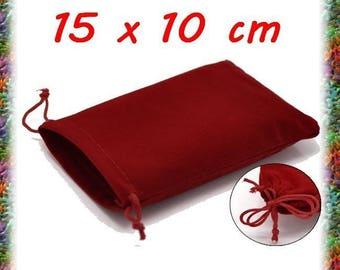 8 pockets in Burgundy velvet 15 x 10 cm