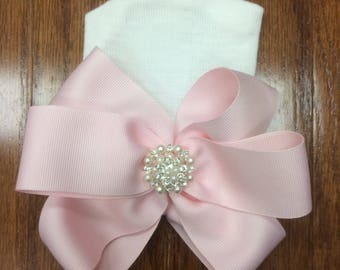 Pink Pearl Triple Bow Hospital Beanie