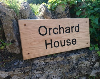 Personalised solid oak house sign - Sustainable timber - natural oil finish