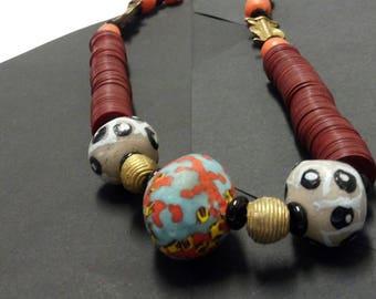 Orange And Burgundy African Bead Necklace, Brass Baulé Pendant Jewellery, Vinyl And Krobo Beads Necklace