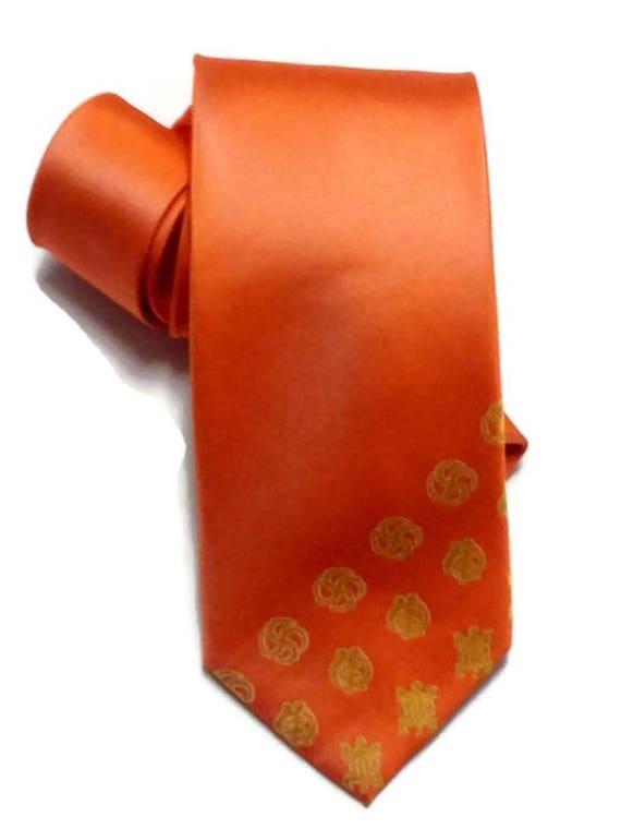 Orange Silk African Adinkra Necktie