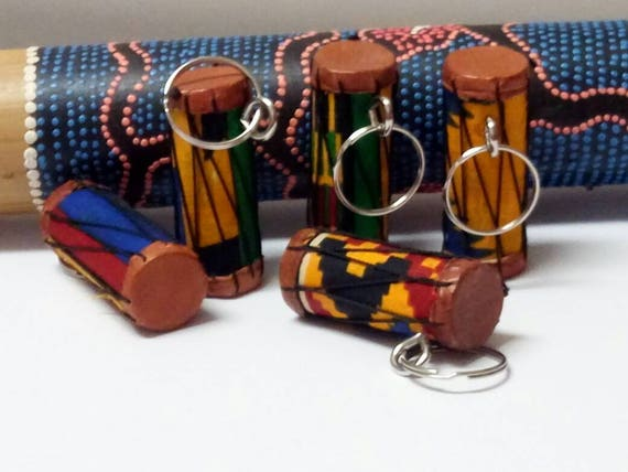 African Kente Drum Keychains And Keyrings, Party Favour Gifts,