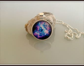Blue and pink Galaxy necklace,