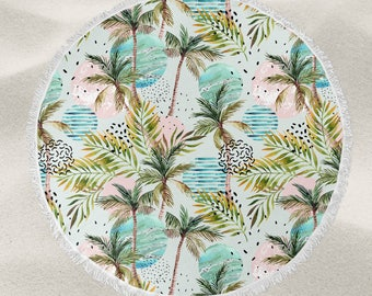 Tropical Party Pattern over-sized round beach towel