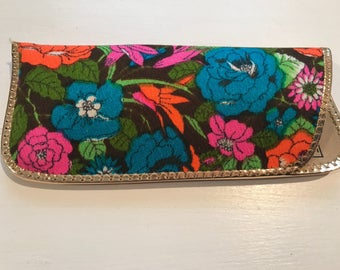 Vintage Funky Flower Power Print Eyeglass Case w/Advertisement