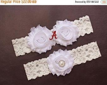 ON SALE Alabama Crimson Tide Wedding Garter Set, University of Alabama Garter, Alabama Crimson Tide Bridal Garter Set, White Lace Wedding Ga